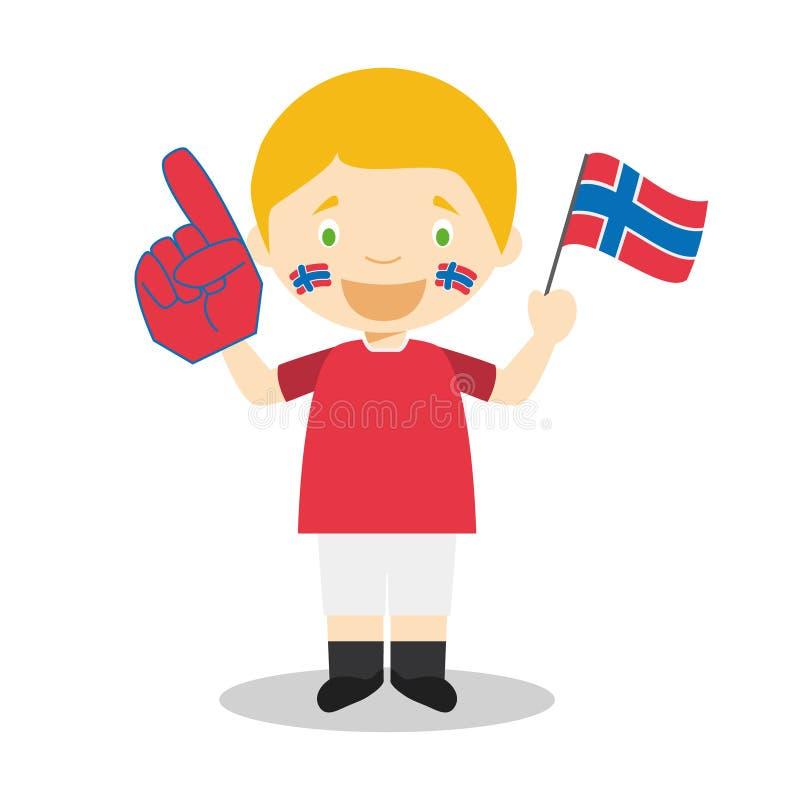 Εθνικός ανεμιστήρας αθλητικών ομάδων από τη Νορβηγία με τη διανυσματική απεικόνιση σημαιών και γαντιών διανυσματική απεικόνιση