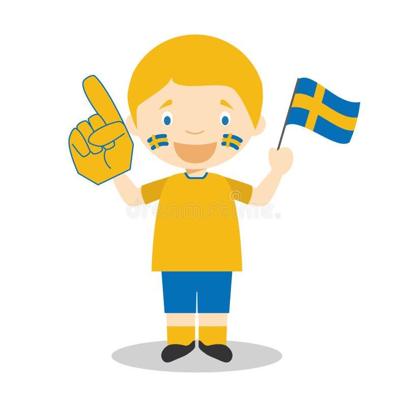 Εθνικός ανεμιστήρας αθλητικών ομάδων από τη Σουηδία με τη διανυσματική απεικόνιση σημαιών και γαντιών απεικόνιση αποθεμάτων