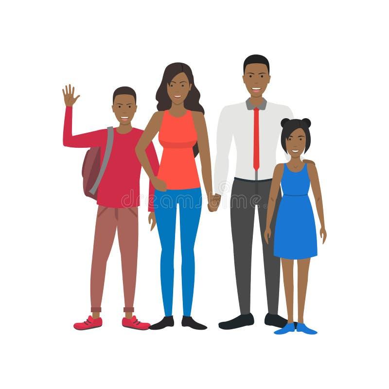 Εθνικός οικογενειακός αφροαμερικάνος ανθρώπων χαρακτηρών κινουμένων σχεδίων r διανυσματική απεικόνιση