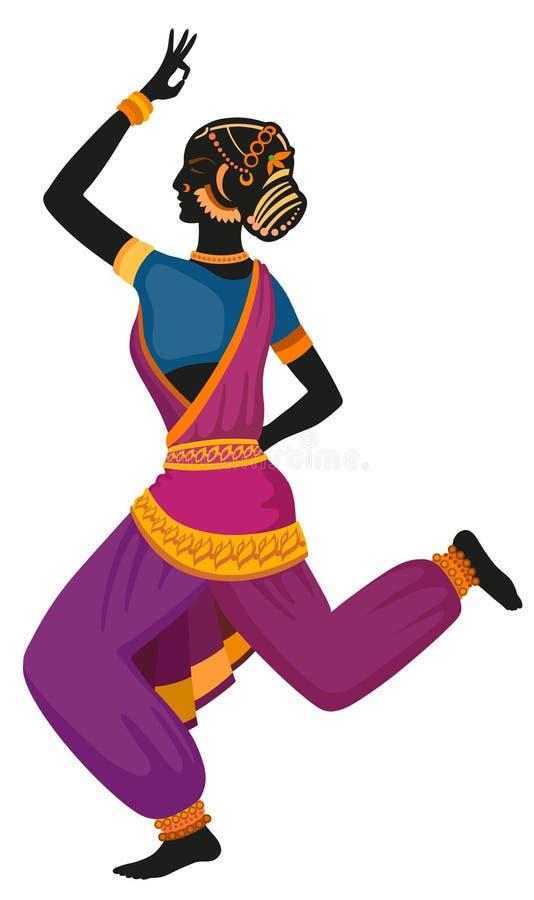 Εθνικός χορός του ινδικού κοριτσιού διανυσματική απεικόνιση