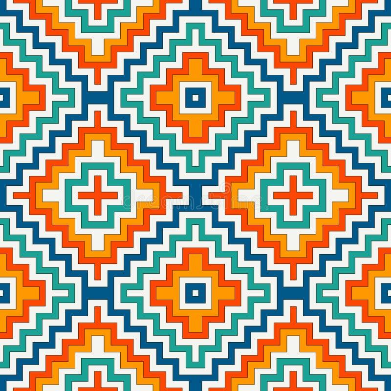 Εθνικό άνευ ραφής σχέδιο με τις γραμμές σιριτιών Διακοσμητικό υπόβαθρο αμερικανών ιθαγενών Φυλετικό μοτίβο Ψηφιακό έγγραφο Boho διανυσματική απεικόνιση