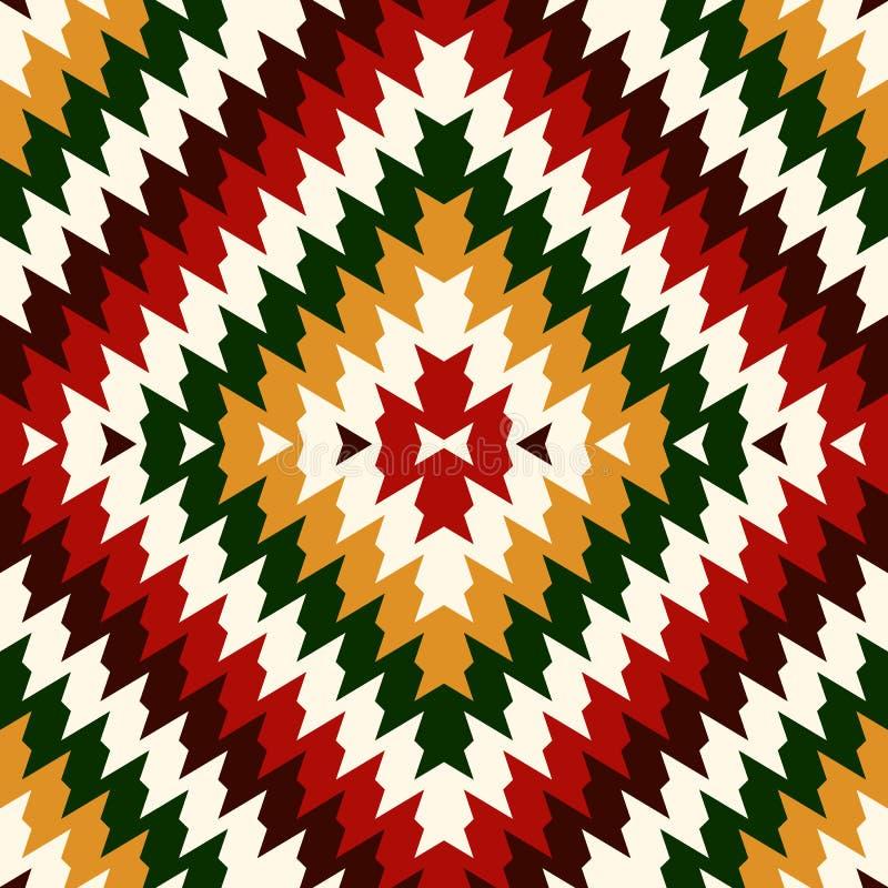 Εθνικό άνευ ραφής σχέδιο ύφους με τις γραμμές σιριτιών Οι αμερικανοί ιθαγενείς διακοσμούν Φυλετικό μοτίβο Ζωηρόχρωμη ταπετσαρία μ ελεύθερη απεικόνιση δικαιώματος