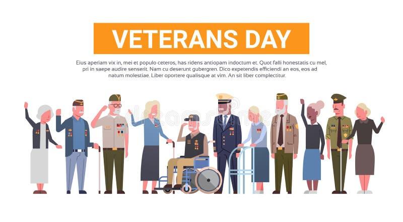 Εθνικό αμερικανικό έμβλημα διακοπών εορτασμού ημέρας παλαιμάχων με την ομάδα συνταξιούχων στρατιωτικών ανθρώπων απεικόνιση αποθεμάτων