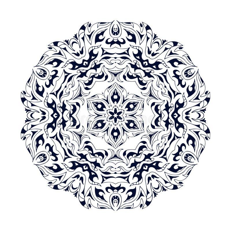 Εθνικό διακοσμητικό floral σχέδιο Συρμένο χέρι mandala Προσανατολίστε το παραδοσιακό υπόβαθρο απεικόνιση αποθεμάτων
