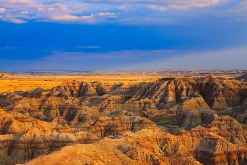 Εθνικό ηλιοβασίλεμα πάρκων Badlands στοκ εικόνες