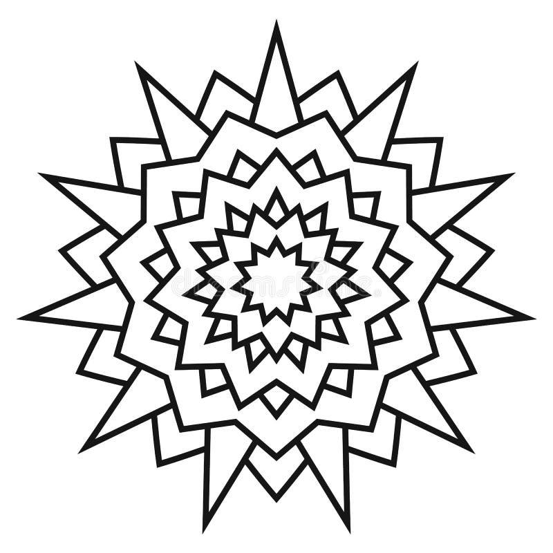 Εθνικό κυκλικό συμμετρικό σχέδιο Γραπτό mandala για το χρωματισμό ελεύθερη απεικόνιση δικαιώματος