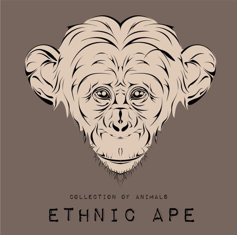 Εθνικό μαύρο κεφάλι του πίθηκου σχέδιο τοτέμ/δερματοστιξιών Χρήση για την τυπωμένη ύλη, αφίσες, μπλούζες επίσης corel σύρετε το δ διανυσματική απεικόνιση