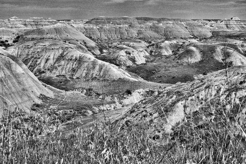 Εθνικό πάρκο Badlands, νότια Ντακότα - γραπτή στοκ εικόνα