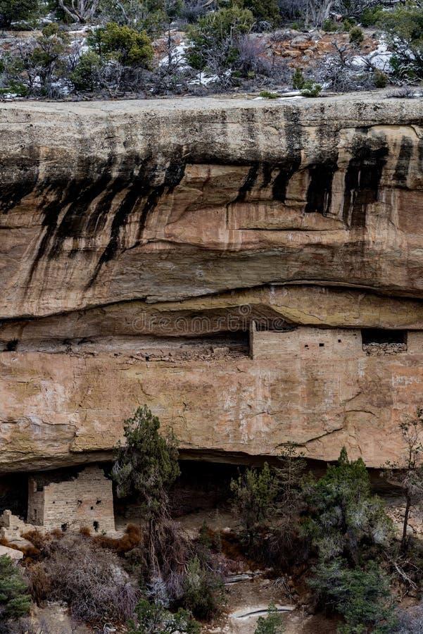 Εθνικό πάρκο Mesa verde - κατοικία απότομων βράχων στο τοπικό LAN βουνών ερήμων στοκ εικόνα