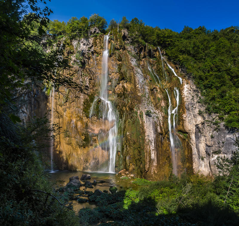 Εθνικό πάρκο Plitvice, Κροατία - ο μεγάλος καταρράκτης, στοκ φωτογραφία