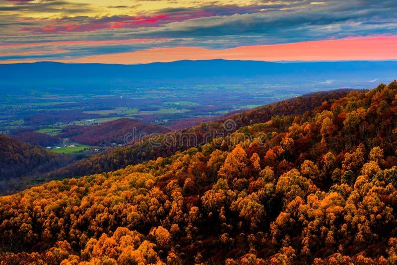 Εθνικό πάρκο Shenandoah στο ηλιοβασίλεμα στοκ εικόνα με δικαίωμα ελεύθερης χρήσης
