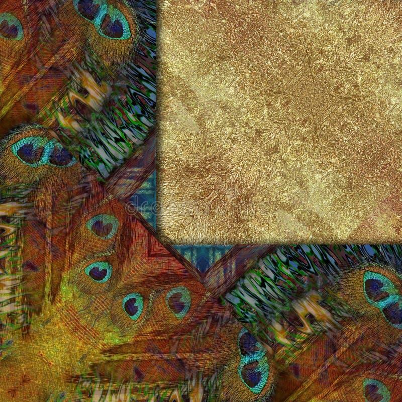 εθνικό πλαίσιο, χρυσοί πέτρα και peacock πατέρες απεικόνιση αποθεμάτων