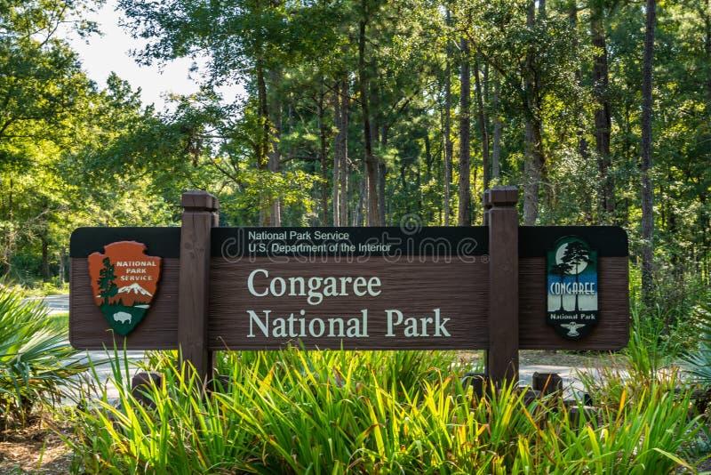 Εθνικό σημάδι πάρκων Congaree στοκ εικόνες