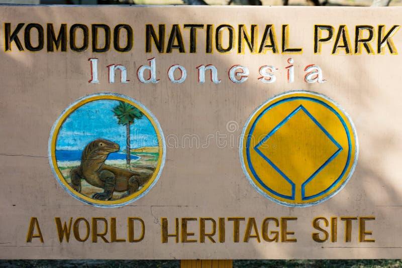Εθνικό σημάδι πάρκων Komodo στοκ φωτογραφίες