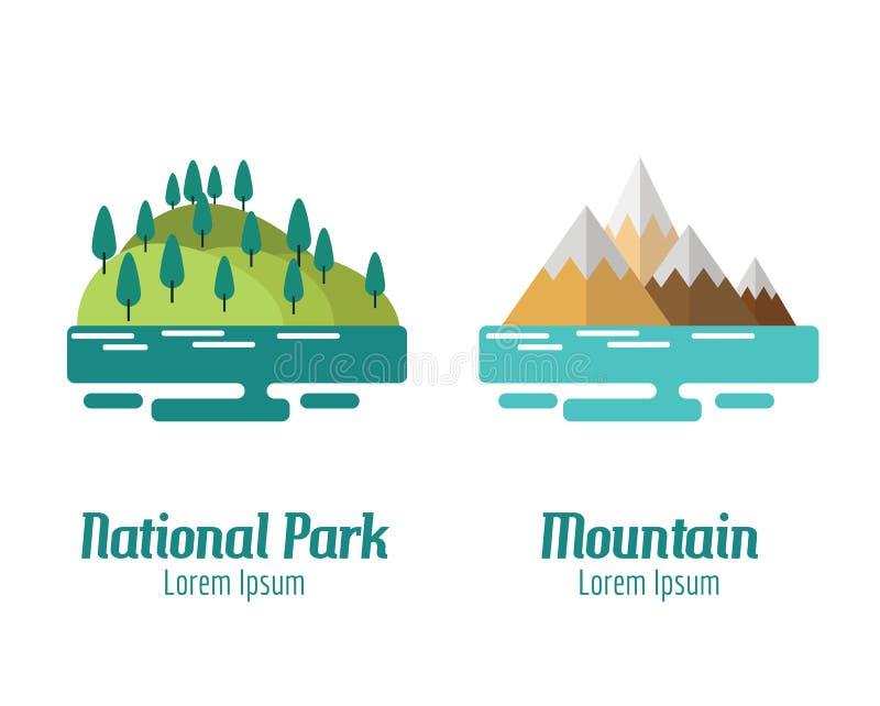 Εθνικό τοπίο πάρκων και βουνών απεικόνιση αποθεμάτων