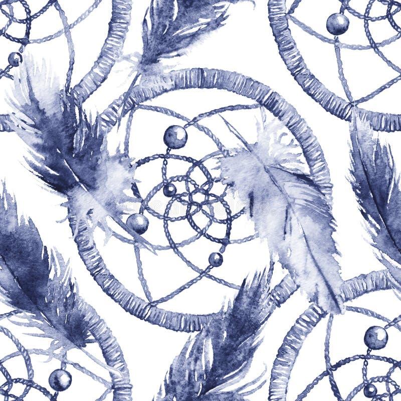 Εθνικό φυλετικό χέρι Watercolor - γίνοντα catcher ονείρου φτερών άνευ ραφής σχέδιο απεικόνιση αποθεμάτων
