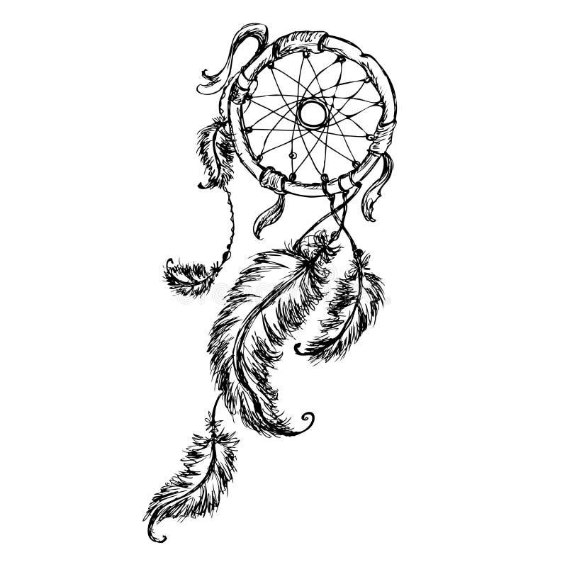 Εθνικό catcher ονείρου με τα φτερά διανυσματική απεικόνιση