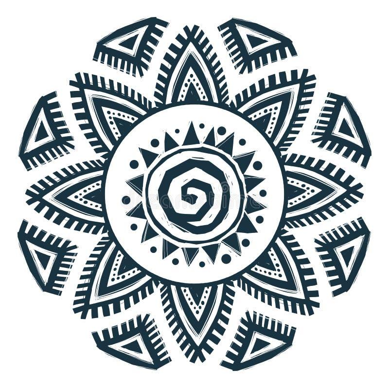 Εθνικό mandala ήλιων ύφους διανυσματικό συρμένο χέρι ελεύθερη απεικόνιση δικαιώματος