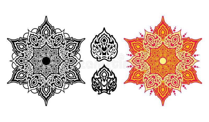 Εθνικό mandala με τη ζωηρόχρωμη διακόσμηση διανυσματική απεικόνιση