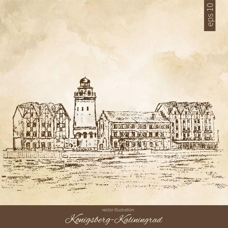 Εθνογραφικό εμπορικό κέντρο, ανάχωμα του ψαροχώρι, Kaliningrad Ρωσία, συρμένο χέρι διάνυσμα χάραξης ελεύθερη απεικόνιση δικαιώματος