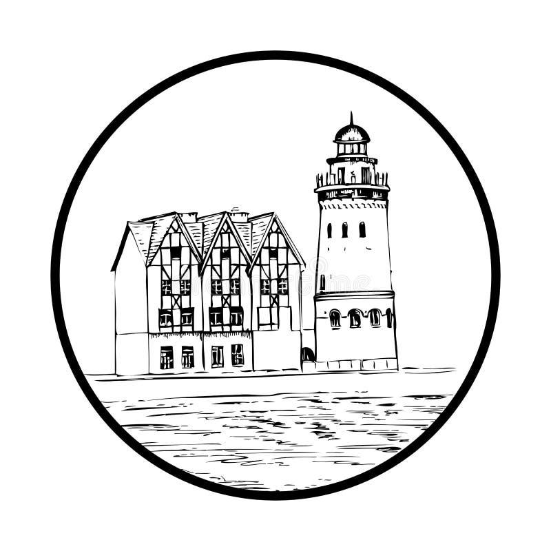 Εθνογραφικό και εμπορικό κέντρο, ανάχωμα του ψαροχώρι, Kaliningrad Ρωσία, συρμένο χέρι διανυσματικό σκίτσο μελανιού ελεύθερη απεικόνιση δικαιώματος