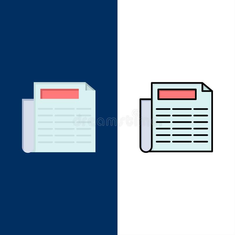 Ειδήσεις, έγγραφο, εικονίδια εγγράφων Επίπεδος και γραμμή γέμισε το καθορισμένο διανυσματικό μπλε υπόβαθρο εικονιδίων απεικόνιση αποθεμάτων