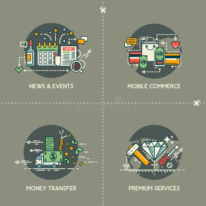 Ειδήσεις & γεγονότα, κινητό εμπόριο, μεταφορά χρημάτων, υπηρεσίες ασφα ελεύθερη απεικόνιση δικαιώματος