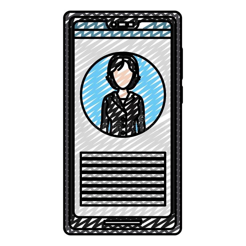 Ειδήσεις δημοσιογράφων γυναικών μέσων smartphone Doodle απεικόνιση αποθεμάτων