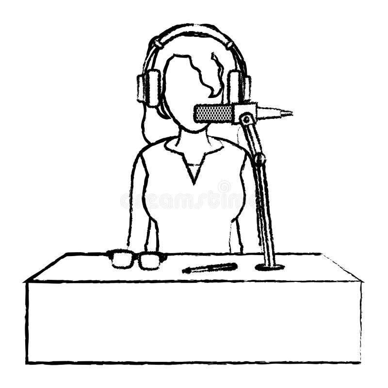 Ειδήσεις δημοσιογράφων γυναικών Grunge με το ακουστικό και το μικρόφωνο απεικόνιση αποθεμάτων
