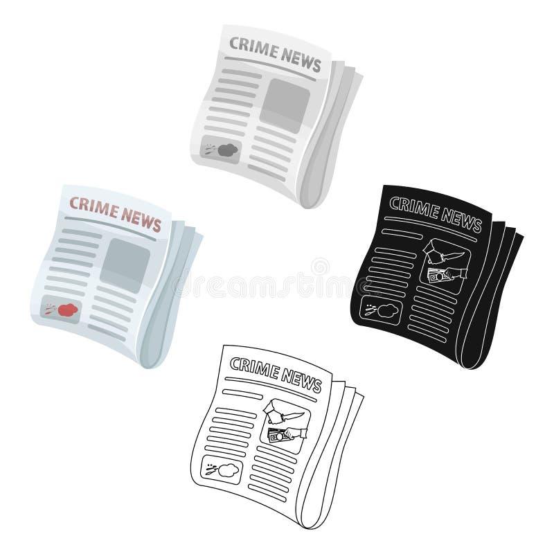 Ειδήσεις εγκλήματος εφημερίδων Άρθρο εγκλήματος στο ενιαίο εικονίδιο Τύπου στα κινούμενα σχέδια, μαύρος Ιστός απεικόνισης αποθεμά διανυσματική απεικόνιση