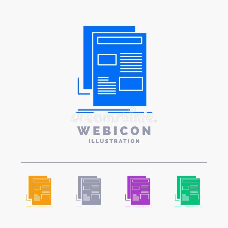ειδήσεις, ενημερωτικό δελτίο, εφημερίδα, μέσα, έγγραφο 5 πρότυπο εικονιδίων Ιστού Glyph χρώματος που απομονώνεται στο λευκό r απεικόνιση αποθεμάτων
