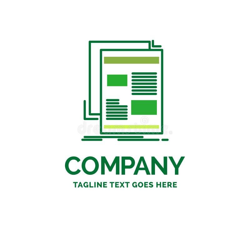 ειδήσεις, ενημερωτικό δελτίο, εφημερίδα, μέσα, επίπεδο επιχειρησιακό λογότυπο εγγράφου tem απεικόνιση αποθεμάτων