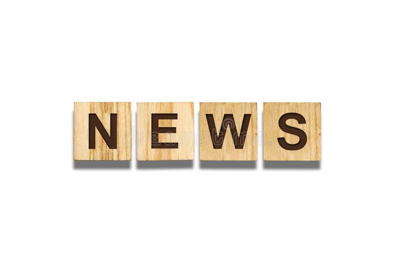 Ειδήσεις, επιγραφή στους ξύλινους φραγμούς σε ένα άσπρο υπόβαθρο   Η έννοια των παγκόσμιων ειδήσεων διανυσματική απεικόνιση