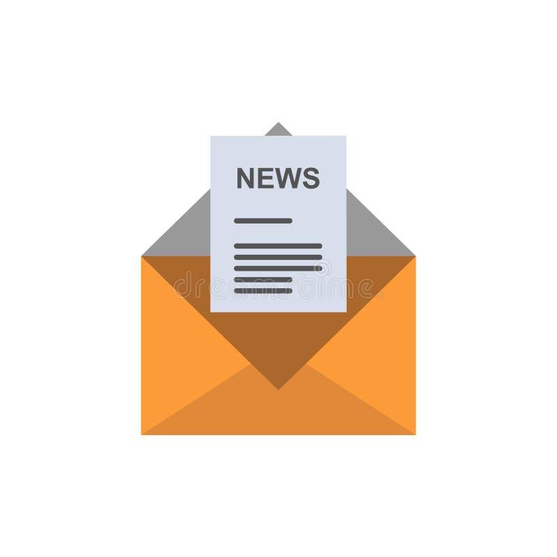 Ειδήσεις, ηλεκτρονικό ταχυδρομείο, επιχείρηση, αντιστοιχία, επίπεδο εικονίδιο χρώματος επιστολών Διανυσματικό πρότυπο εμβλημάτων  ελεύθερη απεικόνιση δικαιώματος
