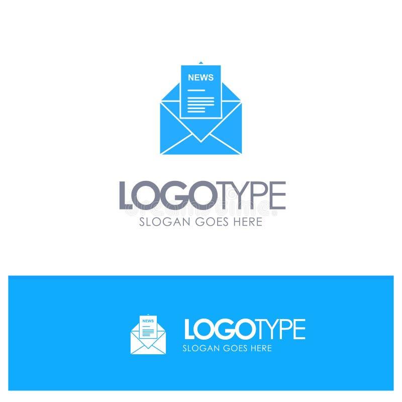 Ειδήσεις, ηλεκτρονικό ταχυδρομείο, επιχείρηση, αντιστοιχία, μπλε στερεό λογότυπο επιστολών με τη θέση για το tagline διανυσματική απεικόνιση