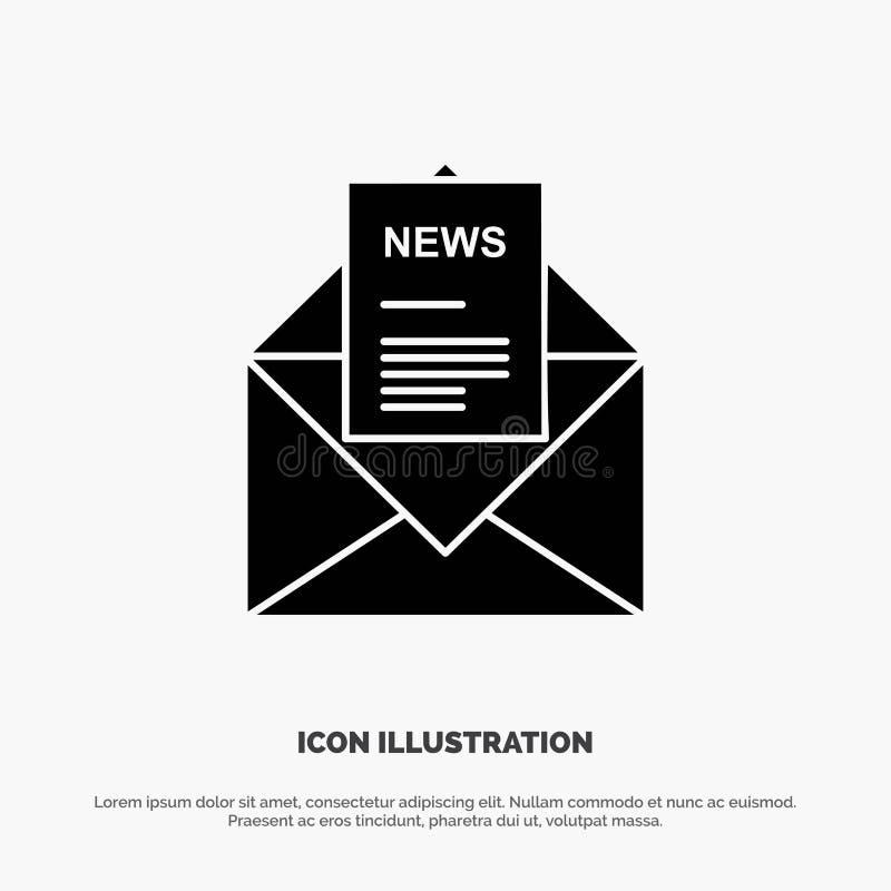 Ειδήσεις, ηλεκτρονικό ταχυδρομείο, επιχείρηση, αντιστοιχία, στερεό διάνυσμα εικονιδίων Glyph επιστολών διανυσματική απεικόνιση