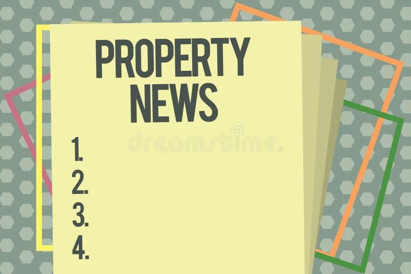 Ειδήσεις ιδιοκτησίας κειμένων γραψίματος λέξης Η επιχειρησιακή έννοια για περιλαμβάνει την πώληση και τη μίσθωση της ιδιοκτησίας  ελεύθερη απεικόνιση δικαιώματος