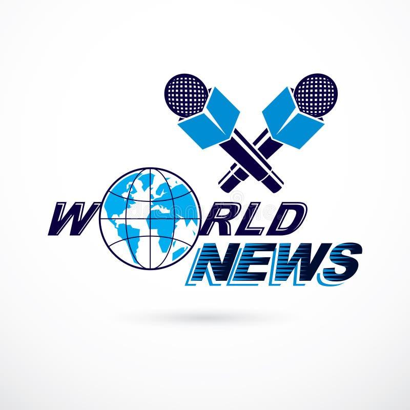 Ειδήσεις και γεγονότα που εκθέτουν το διανυσματικό λογότυπο αποτελούμενο χρησιμοποιώντας την επιγραφή παγκόσμιων ειδήσεων ελεύθερη απεικόνιση δικαιώματος