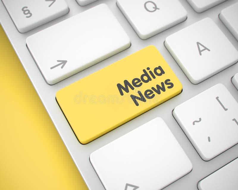 Ειδήσεις μέσων - κείμενο στο κίτρινο κλειδί πληκτρολογίων τρισδιάστατος ελεύθερη απεικόνιση δικαιώματος
