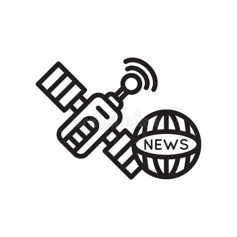 Ειδήσεις μέσω του δορυφορικών διανυσματικών σημαδιού και του συμβόλου εικονιδίων που απομονώνονται στο άσπρο υπόβαθρο, ειδήσεις μ απεικόνιση αποθεμάτων