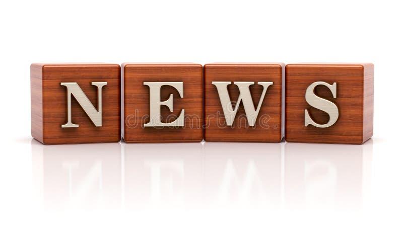 Ειδήσεις που γράφονται στους ξύλινους κύβους διανυσματική απεικόνιση