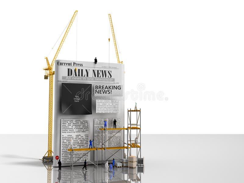 Ειδήσεις που στηρίζονται τις στήλες εφημερίδων ραβδιών οικοδόμων έννοιας σε έναν blan ελεύθερη απεικόνιση δικαιώματος