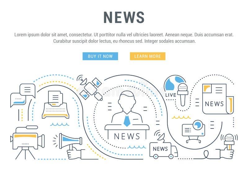 Ειδήσεις σελίδων εμβλημάτων και προσγείωσης ιστοχώρου ελεύθερη απεικόνιση δικαιώματος