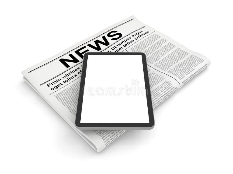 Ειδήσεις στην εφημερίδα και το κάθετο κενό PC ταμπλετών, που απομονώνονται στο λευκό απεικόνιση αποθεμάτων