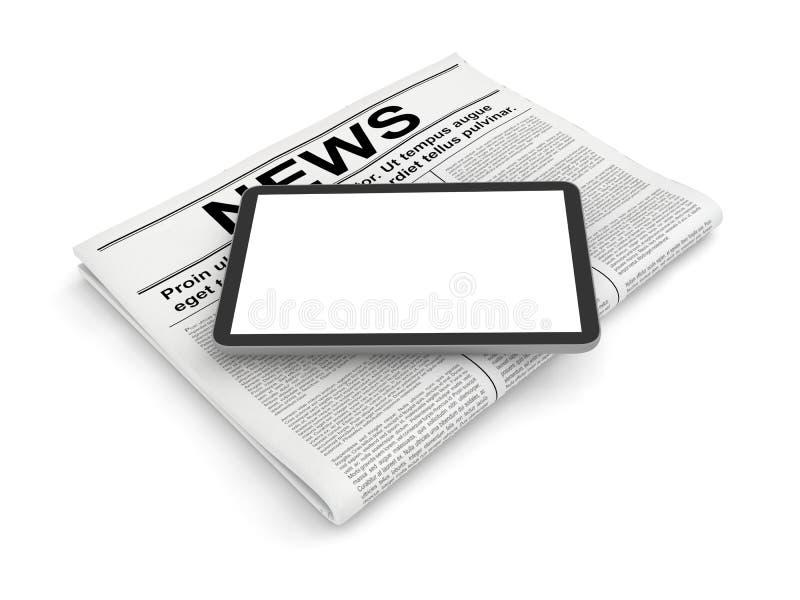 Ειδήσεις στην εφημερίδα και το οριζόντιο κενό PC ταμπλετών, που απομονώνονται στο λευκό ελεύθερη απεικόνιση δικαιώματος