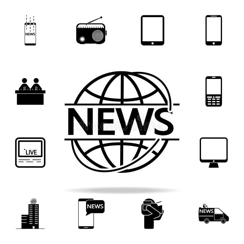 ειδήσεις στον κύκλο του γήινου εικονιδίου Καθολικό εικονιδίων MEDIA που τίθεται για τον Ιστό και κινητό διανυσματική απεικόνιση