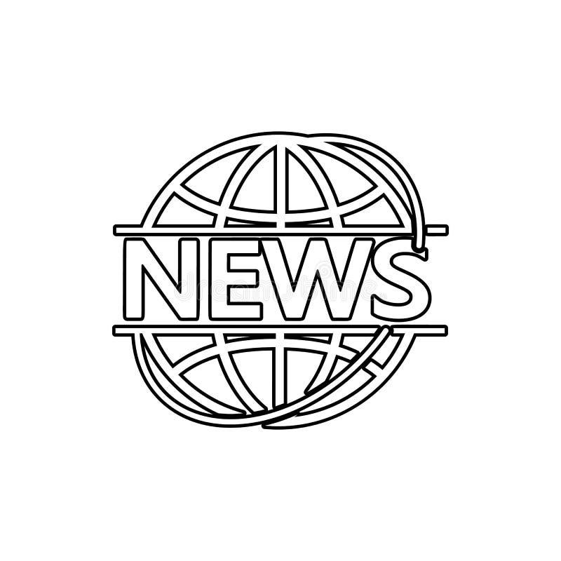 ειδήσεις στον κύκλο του γήινου εικονιδίου Στοιχείο του MEDIA για το κινητό εικονίδιο έννοιας και Ιστού apps Λεπτό εικονίδιο γραμμ διανυσματική απεικόνιση