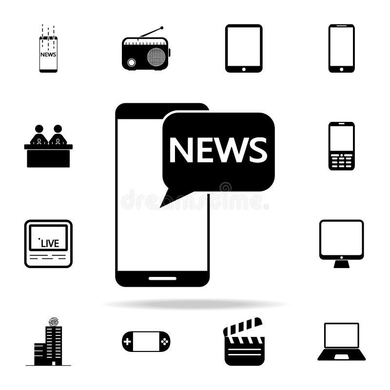 ειδήσεις στο έξυπνο τηλεφωνικό εικονίδιο Καθολικό εικονιδίων MEDIA που τίθεται για τον Ιστό και κινητό απεικόνιση αποθεμάτων