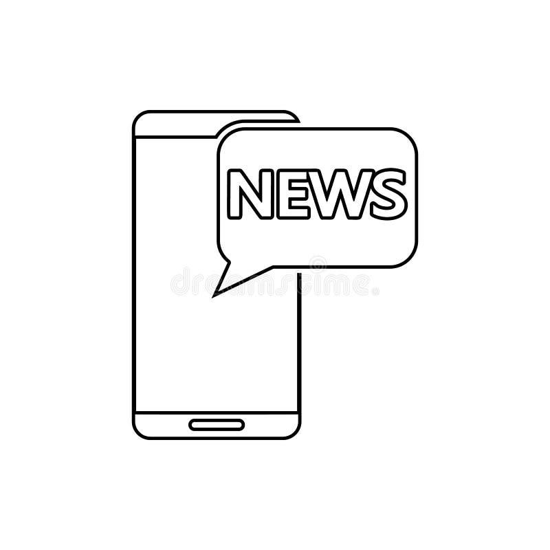 ειδήσεις στο έξυπνο τηλεφωνικό εικονίδιο Στοιχείο του MEDIA για το κινητό εικονίδιο έννοιας και Ιστού apps Λεπτό εικονίδιο γραμμώ ελεύθερη απεικόνιση δικαιώματος