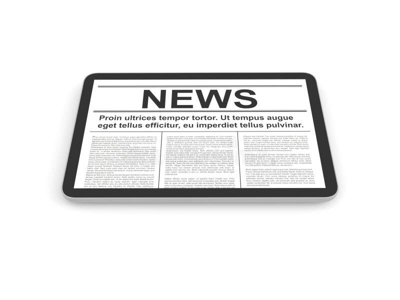 Ειδήσεις στο PC ταμπλετών, που απομονώνονται στο λευκό διανυσματική απεικόνιση